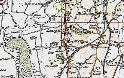 Old map of Heversham in 1925
