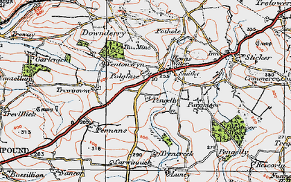 Old map of Hewas Water in 1919