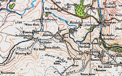 Old map of Aune in 1919
