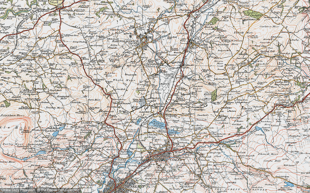 Old Map of Historic Map covering Admergill Pasture in 1924