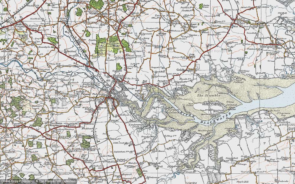 Old Map of Heybridge Basin, 1921 in 1921