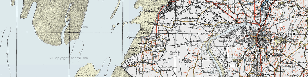 Old map of Heysham in 1924