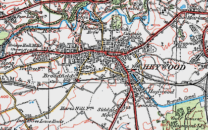 Old map of Heywood in 1924