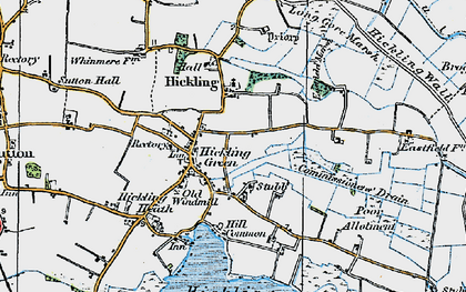 Old map of Hickling in 1922