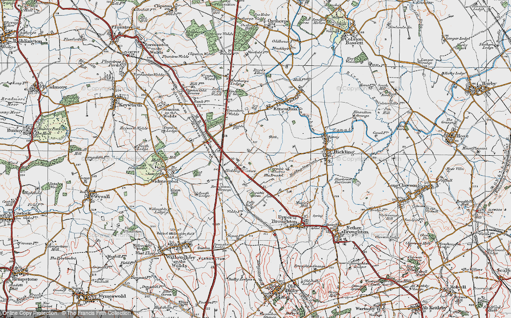 Old Map of Historic Map covering Lincoln Lodge in 1921