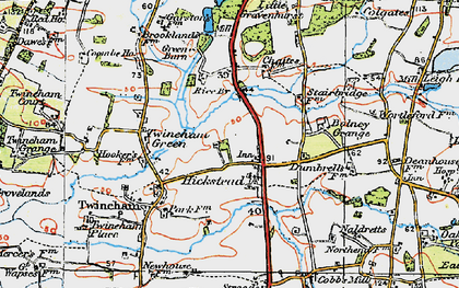 Old map of Hickstead in 1920