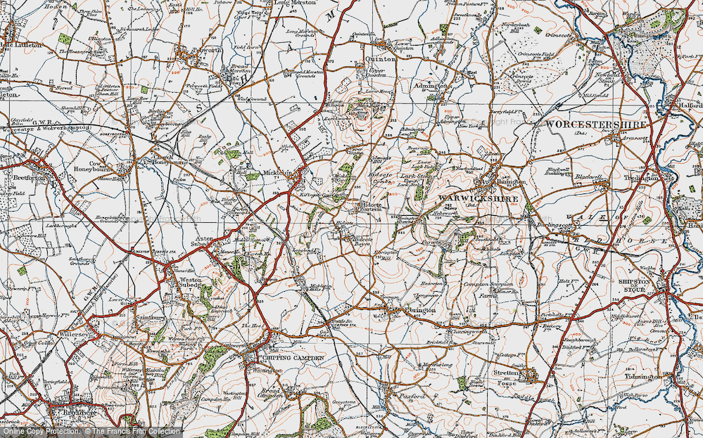 Old Map of Historic Map covering Baker's Hill in 1919