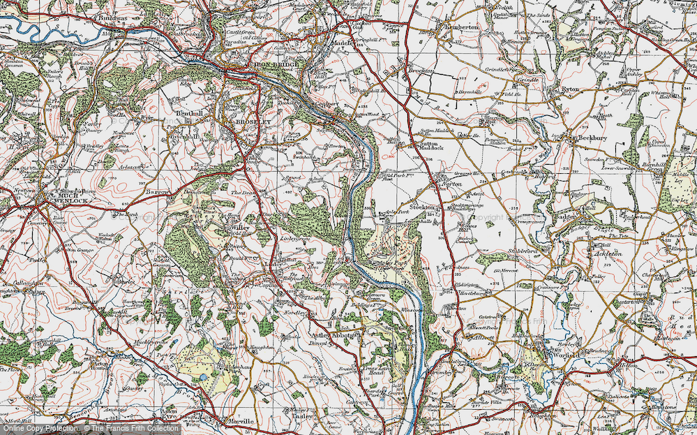 Old Map of Historic Map covering Bagley's Rough in 1921