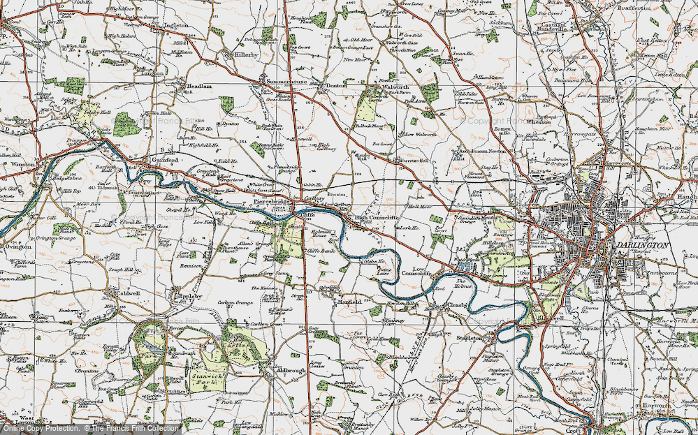 Old Map of Historic Map covering Lark Ho in 1925