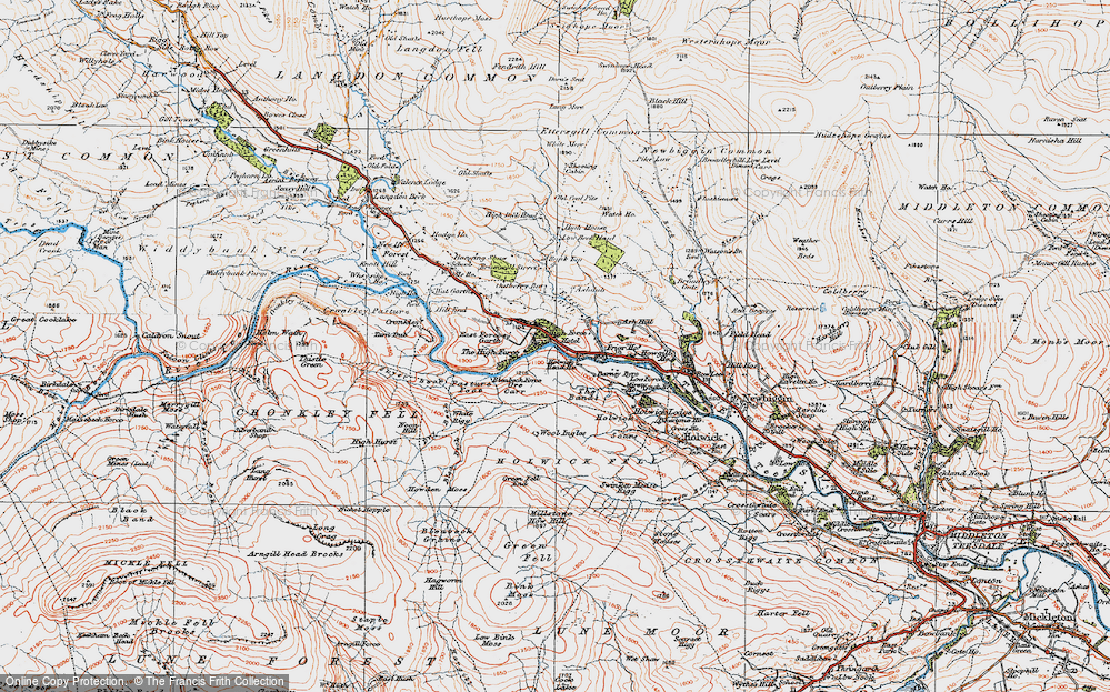 Old Map of Historic Map covering Wool Ingles in 1925