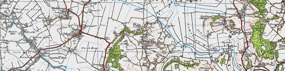 Old map of High Ham in 1919
