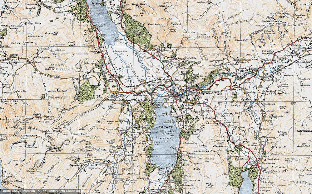 Old Map of Historic Map covering Lingholm in 1925