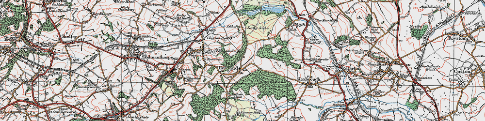 Old map of High Hoyland in 1924
