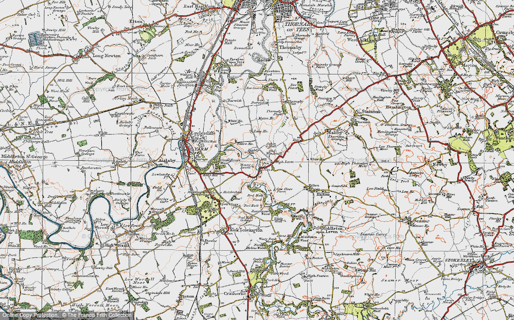 Old Map of Historic Map covering Leven Bridge in 1925
