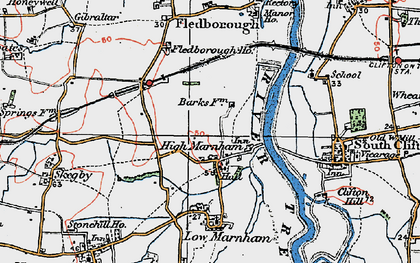 Old map of High Marnham in 1923