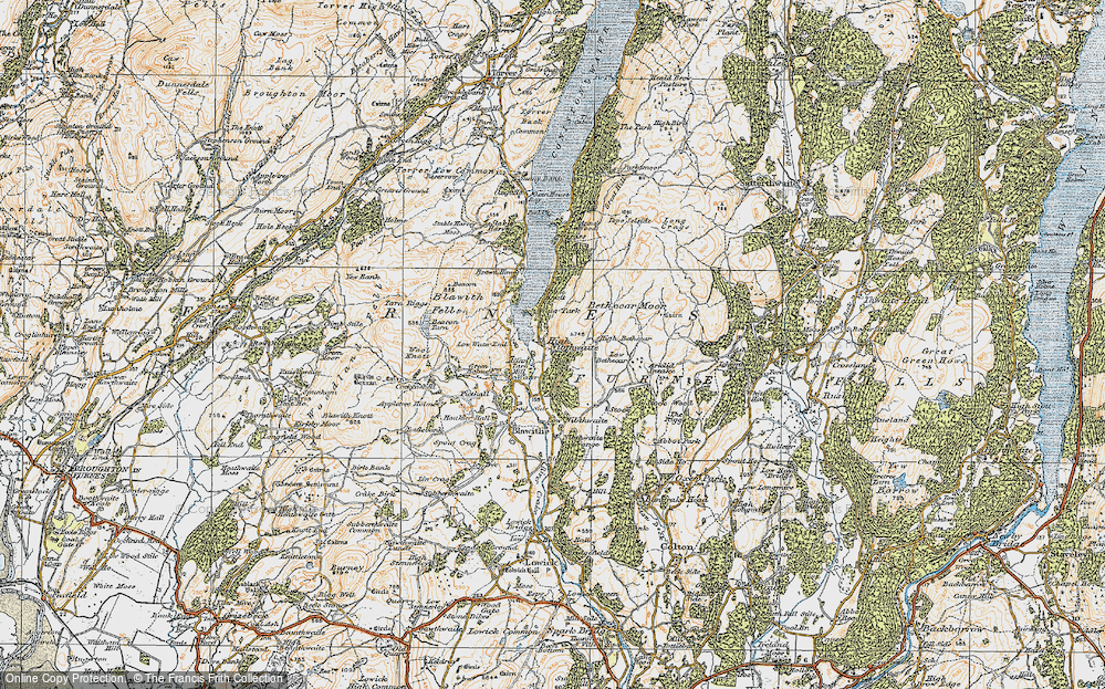 Old Map of Historic Map covering Allan Tarn in 1925
