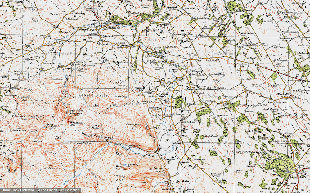 Old Map of Historic Map covering Bannest Hill in 1925