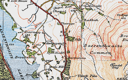 Old map of Bakestall in 1925