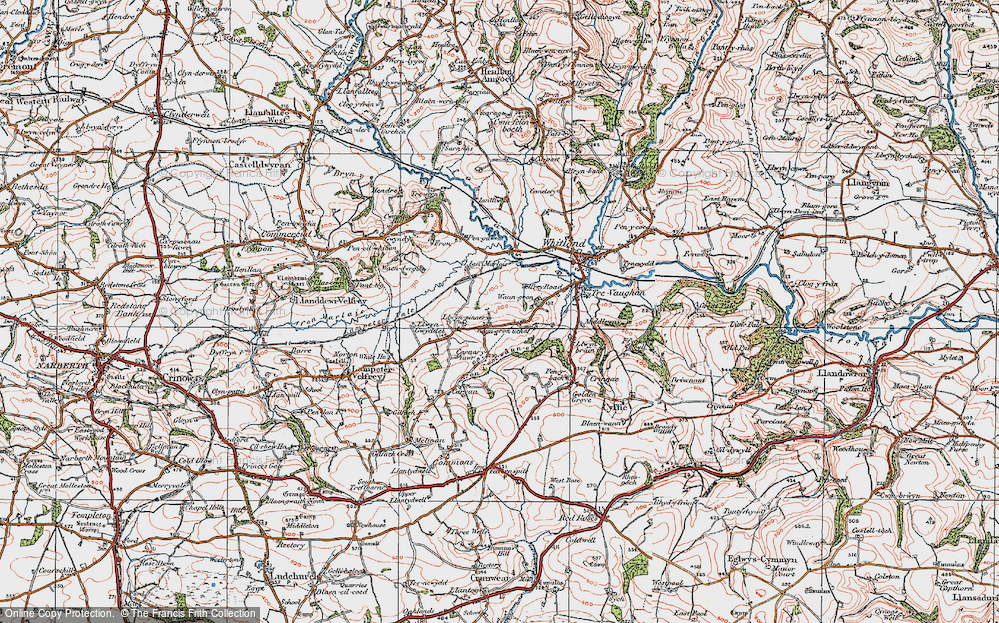 Old Map of Historic Map covering Afon Cwm-Waun-gron in 1922