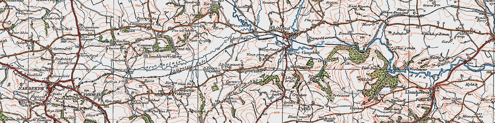 Old map of Afon Cwm-Waun-gron in 1922