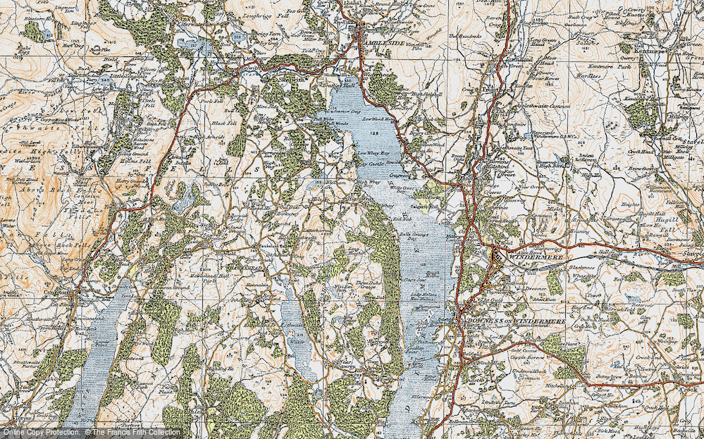 Old Map of Historic Map covering Arthur Wood in 1925