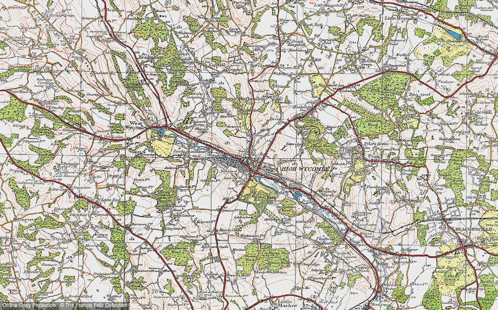 Map High Wycombe Map of High Wycombe, 1919   Francis Frith