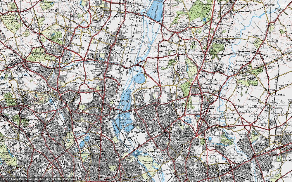 Old Map of Historic Map covering Banbury Resr in 1920