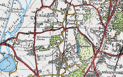 Old map of Highams Park in 1920