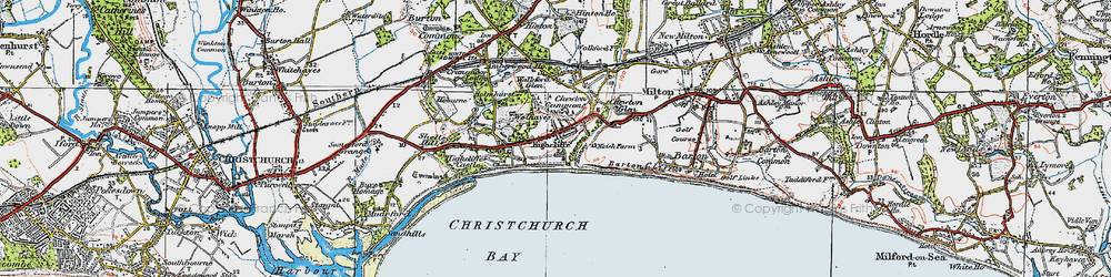 Old map of Highcliffe in 1919
