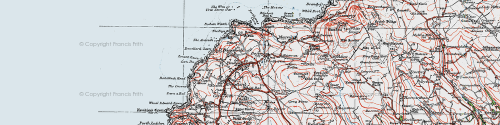Old map of Wheal Bal Hill in 1919
