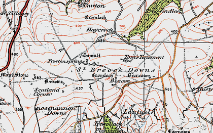 Old map of Higher Cransworth in 1919