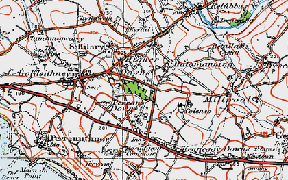 Old map of Higher Downs in 1919