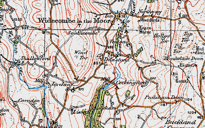 Old map of Wind Tor in 1919
