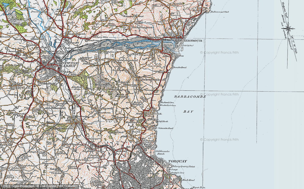 Old Map of Historic Map covering Babbacombe Bay in 1919