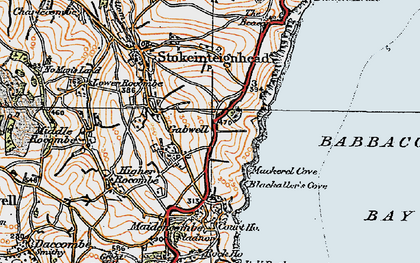 Old map of Babbacombe Bay in 1919