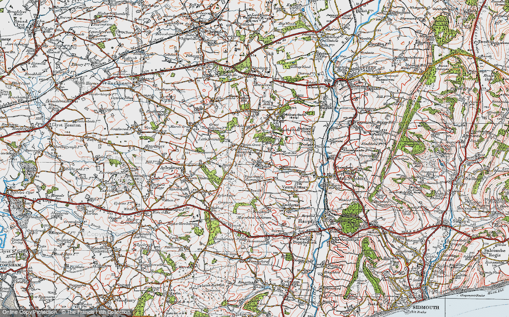 Old Map of Historic Map covering Aylesbeare Hill in 1919