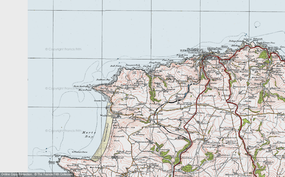 Old Map of Historic Map covering Lee Bay in 1919