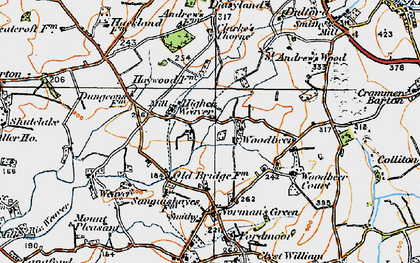 Old map of Woodbeer Court in 1919