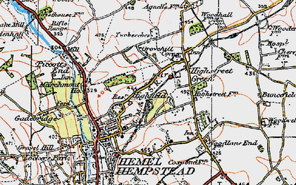 Old map of Highfield in 1920