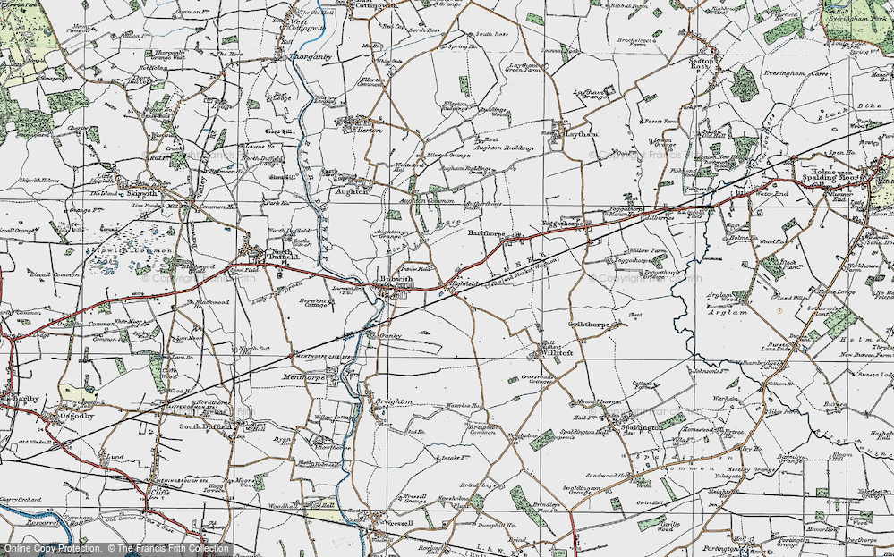 Old Map of Historic Map covering Aughton Common in 1924