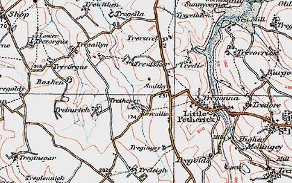 Old map of Highlanes in 1919