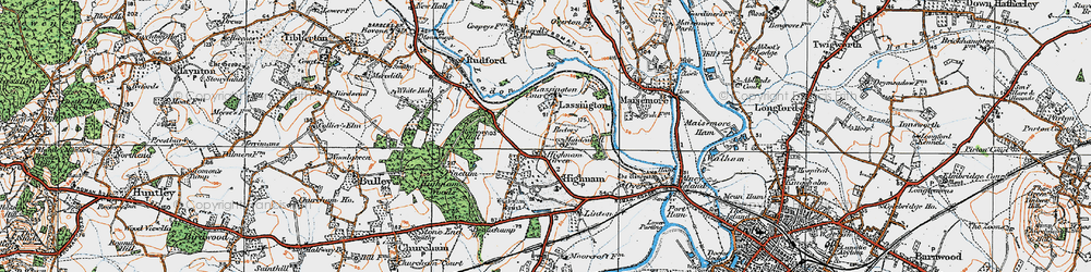 Old map of Lassington in 1919