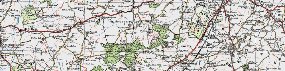 Old map of Writtle Park in 1920