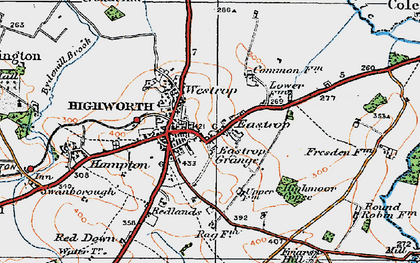 Old map of Highworth in 1919