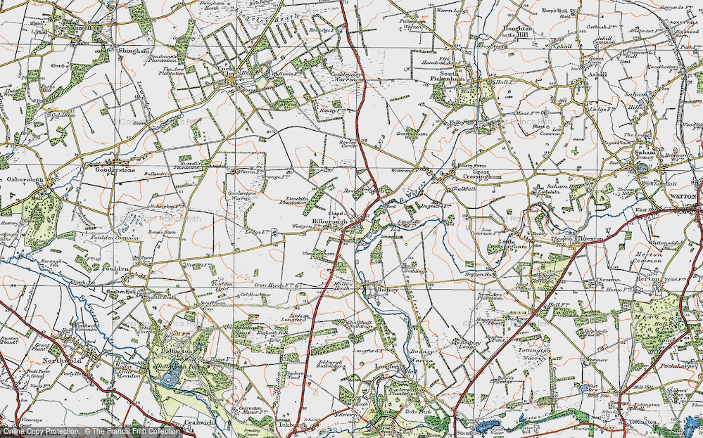 Old Map of Historic Map covering Limekiln Platation in 1921