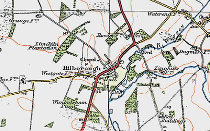 Old map of Wimbotsham Plantn in 1921