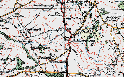 Old map of Wooliscroft in 1921
