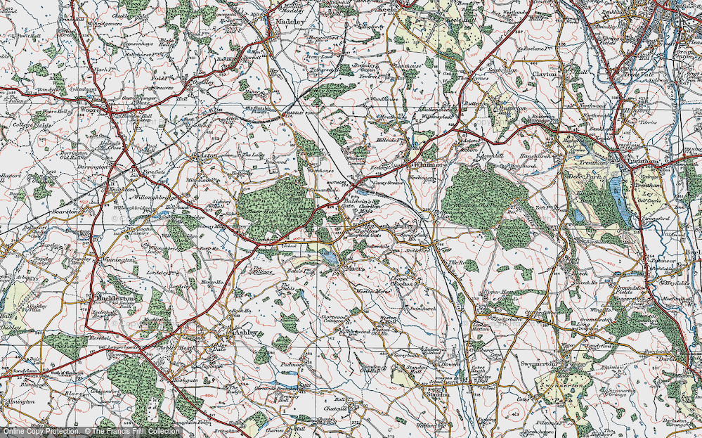 Old Map of Historic Map covering Whitmore Wood in 1921