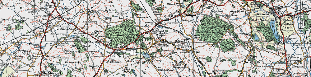 Old map of Whitemore Heath in 1921