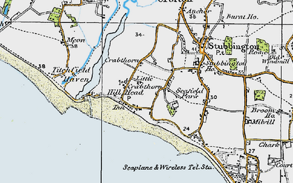 Old map of Hill Head in 1919